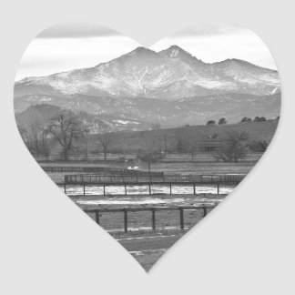 Twin Peaks Mt Meeker and Longs Peak BW Country Heart Sticker