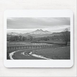 Twin Peaks Mt Meeker and Longs Peak BW Country Mouse Pad