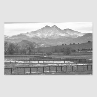 Twin Peaks Mt Meeker and Longs Peak BW Country Rectangular Sticker