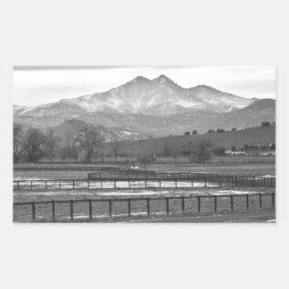 Twin Peaks Mt Meeker and Longs Peak BW Country Rectangular Sticker