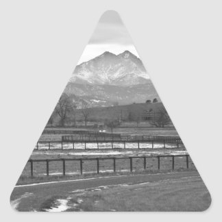 Twin Peaks Mt Meeker and Longs Peak BW Country Triangle Sticker