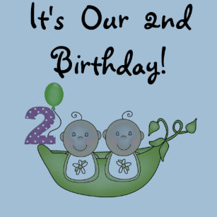 Twin Peas In A Pod 2nd Birthday T Shirts And Gifts
