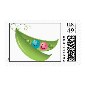 Twin Peas in a Pod Postage Stamp