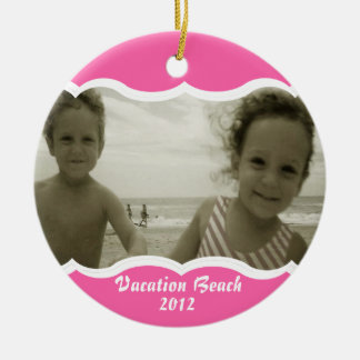 Twin Photo Pink Double-Sided Ceramic Round Christmas Ornament
