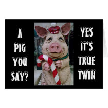 TWIN-PIGGY AND HIS CANDY CANE JUST FOR YOU CARD