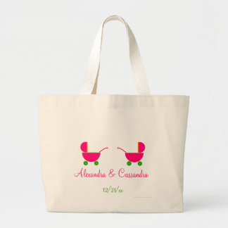 """""""Twin Pink Baby Carriages"""" - w/ Names [a] Large Tote Bag"""