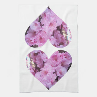 Twin Pink Blossom Hearts Hand Towel