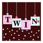 "Twin Pink Blue Blocks Boy and Girl Baby Shower 5.25"" Square Invitation Card"
