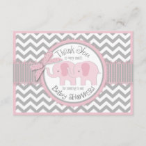 Twin Pink Elephants Grey White Chevron Thank You