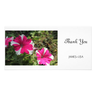 Twin pink flowers personalized photo card