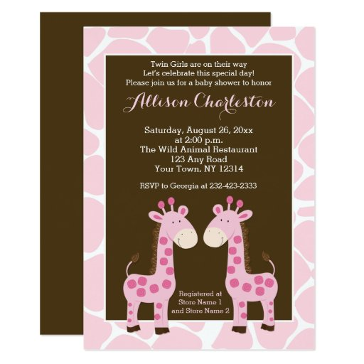 Twin Pink Giraffe Girl Twins Baby Shower Invites