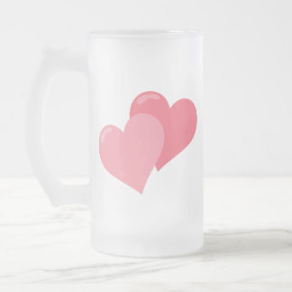 Twin Pink Hearts Frosted Glass Beer Mug