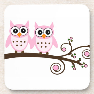 Twin Pink Owls on Brown Branch Drink Coaster