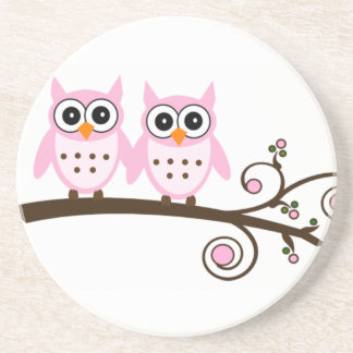 Twin Pink Owls on Brown Branch Sandstone Coaster