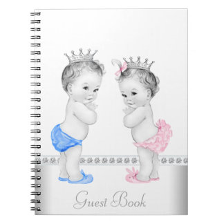 Twin Prince and Princess Baby Shower Guest Book Spiral Note Books