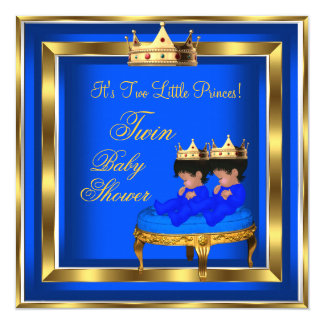 Twin Prince Baby Shower Royal Blue Gold Boy Crown 5.25x5.25 Square Paper Invitation Card