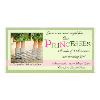 Twin Princesses Birthday Card Picture Card