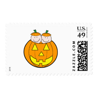 Twin Pumpkin Babies Graphic Postage Stamp