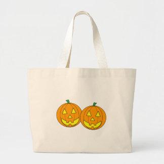 Twin Pumpkins Graphic Large Tote Bag
