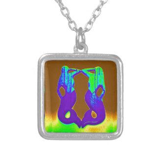 twin purple mermaids square pendant necklace