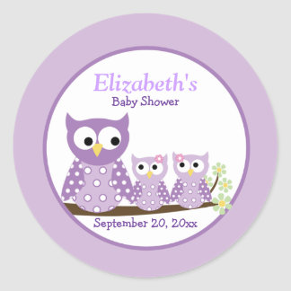 Twin Purple Owls Baby Shower Favor Sticker