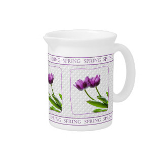 Twin Purple Tulips Spring Floral Photography Pitcher