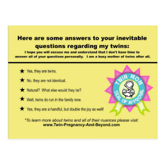 Twin Questions & Answers Card