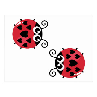 Twin Red Bugs Facing Each Other Postcard