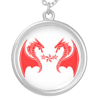 Twin Red Dragons Necklace