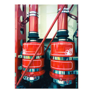 Twin Red Exhausts Photo Prints Photo Print