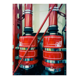 Twin Red Exhausts Poster