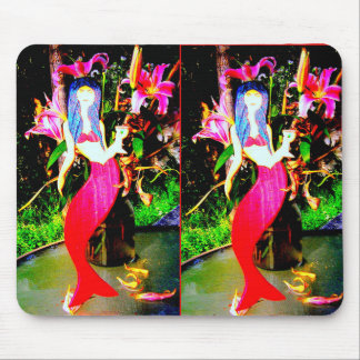 twin red mermaids partying mouse pad