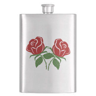 Twin Red Roses Flask