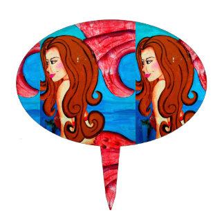 twin redheaded mermaids cake pick