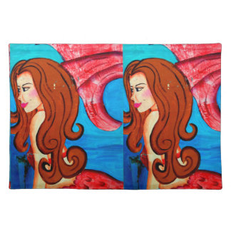 twin redheaded mermaids placemat