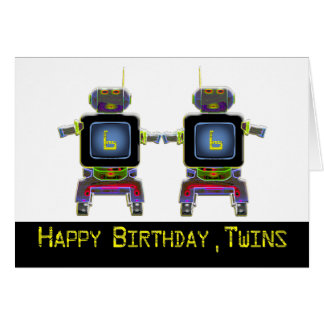 Twin Robot Birthday 6 years old Card