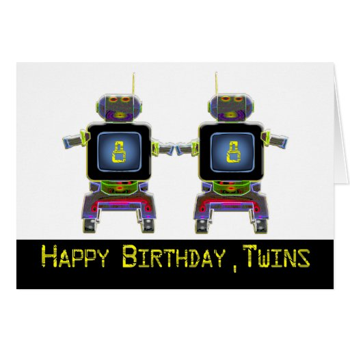 Twin Robot Birthday 8 years old Card