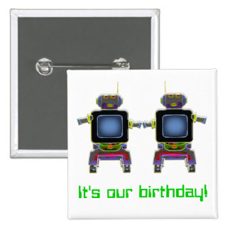 twin robots in neon colors 2 inch square button