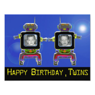 twin robots in neon colors card