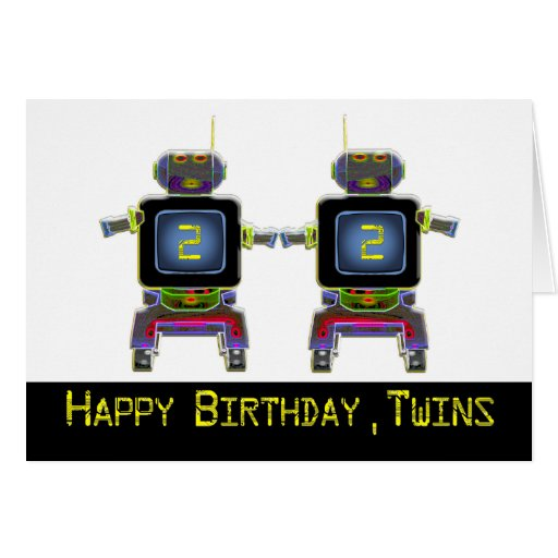 twin robots in neon colors greeting card