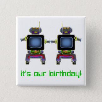 twin robots in neon colors pinback button