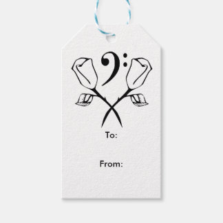 Twin Rose above Bass Clef Gift Tags