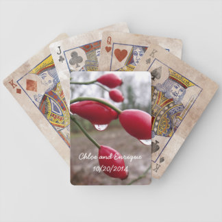 Twin Rose Hips And Rain Personalized Wedding Bicycle Playing Cards