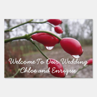 Twin Rose Hips And Rain Personalized Wedding Lawn Sign