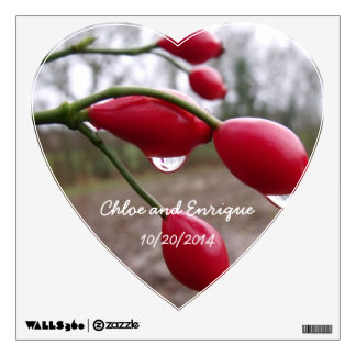 Twin Rose Hips And Rain Personalized Wedding Room Graphic