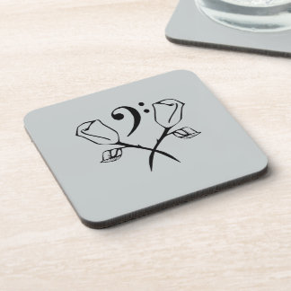 Twin Rose with a Bass Clef Beverage Coaster