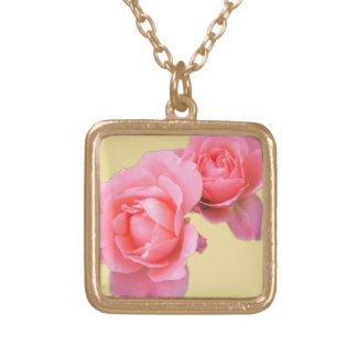 TWIN ROSES SQUARE PENDANT NECKLACE