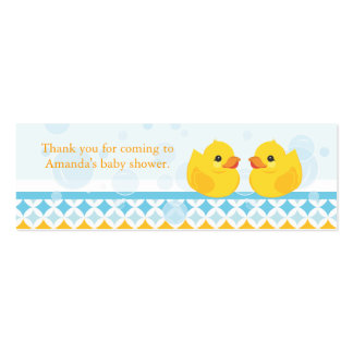 Twin Rubber Duckies Baby Shower Favor Tag Mini Business Card
