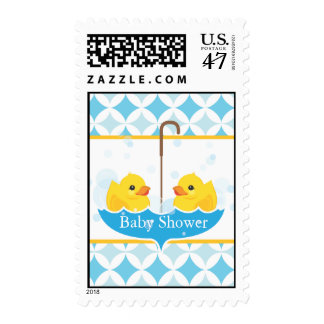 Twin Rubber Duckies Baby Shower Stamp