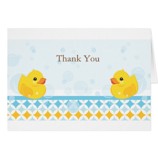 Twin Rubber Duckies Thank You Card